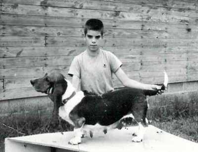 John Tait with his first Basset Bess, in 1961